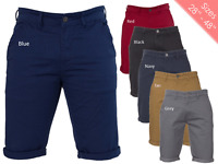 Enzo Mens Shorts Chino Stretch Slim Fit in Grey Black Navy Red Tan Colours