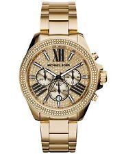 Original Michael Kors Damen Uhr Gold-farben MK6095 Chronograph Zirkonia Neu&Ovp