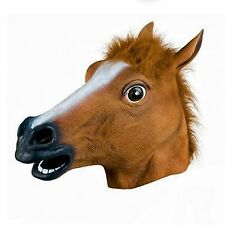 RUBBER HORSE HEAD MASK LATEX FANCY DRESS PARTY ANIMAL MASKS PANTO STAG