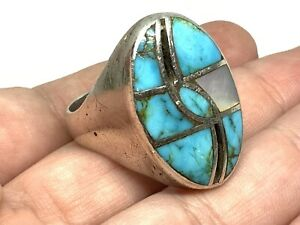 Old Pawn Sterling Silver Turquoise Mop Hummingbird Inlay Mens Ring (Sz. 13)