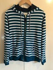 Crane Equestrian Teal & White Striped Hoody Hoodie Jumper Size 8-10 Small c14