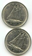 Canada 1985 1986 Dimes Canadian 10 Cent Pieces 10c 10 c (coin lot D)
