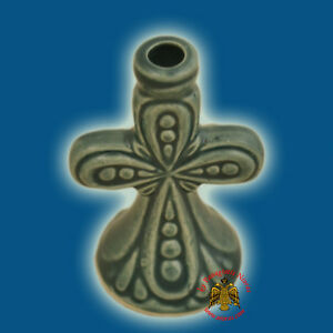 Orthodox Candle Holder Cross Colored Ceramic Different Colours 7cm Kerzenhalter