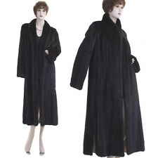 Excellent! Chic, Long and Slim Genuine Dark Mahogany Female Mink Fur F/L Coat