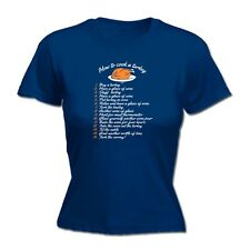 Christmas xmas Funny Novelty Tops T-Shirt Womens tee TShirt How to Cook A Turkey
