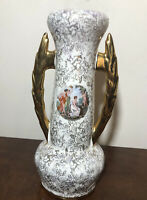 """Vintage Warranted 22k Gold Grecian Goddess Vase USA Made 1950's 9.5"""""""