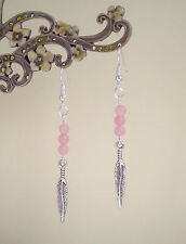 Pretty Silver Feather and Rose Quartz Beads Dangly Earrings - Ethnic Boho
