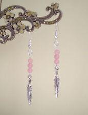 Bonita pluma de plata y cuentas colgantes pendientes de Cuarzo Rosa-étnico boho