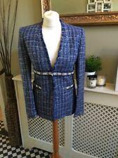 ZARA ❤️ Faux Pearl Blazer Jacket Blue Checked Size Small UK 8 BNWT Frayed Edge