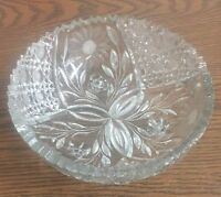 8 Inch Clear Glass Candy Bowl Serving Dish With Flowers New