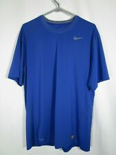 Nike Pro Fitted Men's Royal Blue Short Sleeve Athletic Workout Shirt Size Xxl