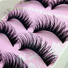 5 Pairs Natural Eye Lashes Makeup Handmade Thick Fake Cross False Eyelashes Hot