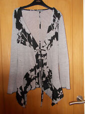 Per Una lagenlook black cream floral waterfall fine knit cardigan with ties 10