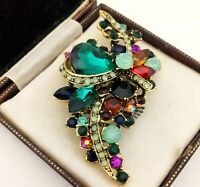 Vintage Style - Green Glass Rhinestone Encrusted Antique Bronze Brooch Pin