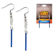 STAR WARS Official Licensed BLUE LIGHTSABER Long Dangle EARRINGS Titanium GIFT