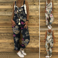 ZANZEA Womens Floral Printed Sleeveless Strappy Jumpsuits Casual Loose Playsuits