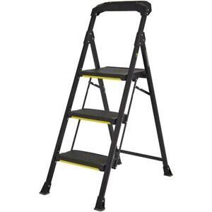 3-Step PRO-Grade Steel Stool Ladder Work Folding Non-Slip 300 lb Load Capacity