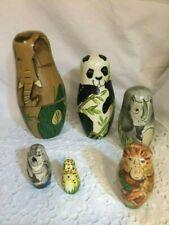 "Authentic Models Wooden Matryoshka Wild Animals Nesting Doll 5"" 6 Dolls"