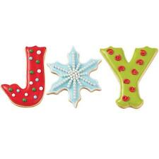 """Christmas Xmas Metal Biscuit Cookie Cutters - Set of 3 J Snowflake and Y """"JOY"""""""