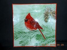 "Christmas St. Nicholas Square Red Cardinal Glass Plate Centerpiece 11"" New"