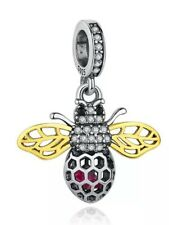💎🎀 STERLING SILVER 925 QUEEN BEE DANGLE PENDANT CHARM & GIFT POUCH