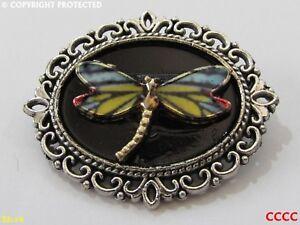 steampunk brooch badge pin dragonfly enamel gold blue yellow #D0092-C