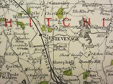 1920 COUNTY MAP of HERTFORDSHIRE ~ HEMPSTEAD WATFORD ST ALBANS RAILWAYS etc