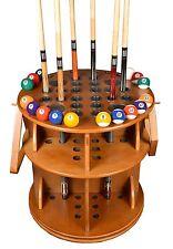 Cue Rack Only - Revolving 20 Pool - Billiard Stick & Ball Floor Stand Oak Finish