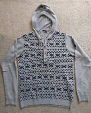 Bench mens knitted hoodie grey pattern - size M - looks new - worn 2 times