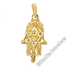 14K Yellow Gold Detailed Textured Hamsa Hand Pendant w/ Star of David Center