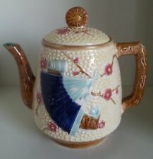 Pretty/Old Majolica Fan and Scroll with Insect and Bird Teapot