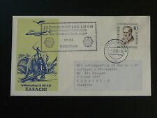 first flight cover Lufthansa 1959 Hamburg to Karachi Pakistan (elephant) 92495