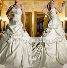 Custom Pleated A-Line Beads Bridal Gown Wedding Dress Size 4-6-8-10-12-14-16++