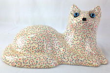 Vintage Heavy Chalkware Ceramic Floral Decoupage Pattern Cat Doorstop Glass Eyes