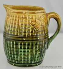 VTG Majolica Basket Weave & Leaf Olive Green & Tan Pitcher 5 3/4″ Corn Harvest