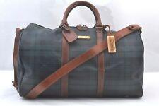 Authentic POLO Ralph Lauren Vintage Green Check Leather Travel Boston Bag 99258