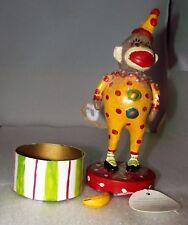 Penny McAllister Folk Art Sock Monkey Clown Suit Candy Container Trinket Box New