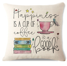 Happiness Is A Cup Of Coffee C2 Cushion Pillow Cover Hot Coffee Stack Books Read