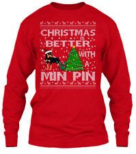 Miniature Pinscher Min Pin Christmas - Better Gildan Long Sleeve Tee T-Shirt