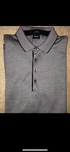 Hugo Boss Polo Shirt Medium Mens Long Sleeve Top Clothing Collor Button Navy Blu