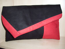 OVER SIZED RED & BLACK Faux suede clutch bag. LOVINGLY Handmade in Derbyshire