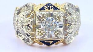 .60 ct DIAMOND mens solitaire masonic 32nd degree ring 14k yellow gold VIDEO