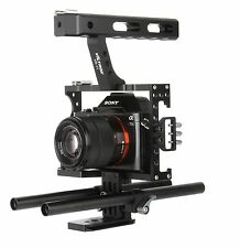 DSLR 15mm Rod Rig Camera Video Cage Kit+Top Handle Grip for Sony A7 A7r A7s GH4