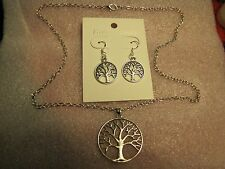 "Tree of Life Pendant on 22"" Necklace w/Matching Earrings Set"