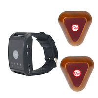 Restaurant Saloon Wireless Watch Calling System 4CH 2*Call Button Pagers 433MHz