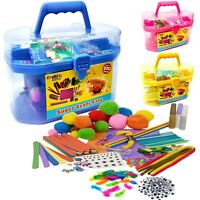Kids Giant Mega Super Craft Art Carry Case Kids Pom Poms Beads Sequins Foam Glue