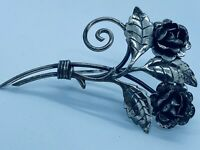 Vintage Art Moderne 1940s Sterling Silver Repousse Rose Flower on Stem Brooch