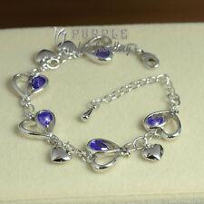 18CT WhiteGold Plates Elegant Lavender Heart Bracelet Made With SWAROVSKICRYSTAL