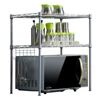 2 Tier Storage Rack Adjustable Metal Shelf Wire Shelve Kitchen Storage Organizer