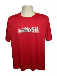2013 Founders 5K Prospect Park Brooklyn NY Mens Medium Red Jersey